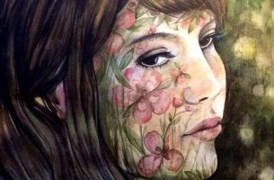 woman with flowers in face