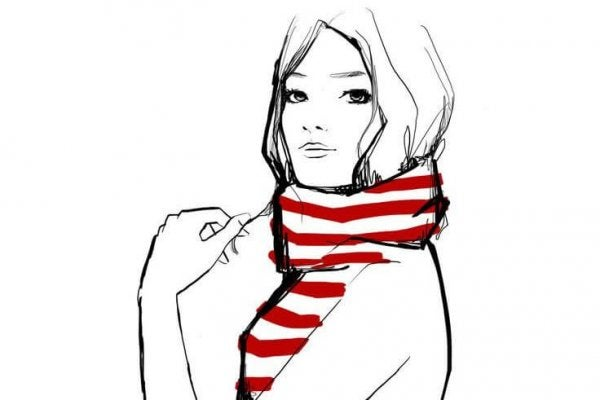 woman with striped scarf