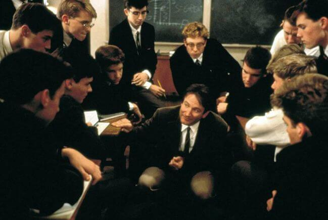 Dead Poets Society Students Around Teacher