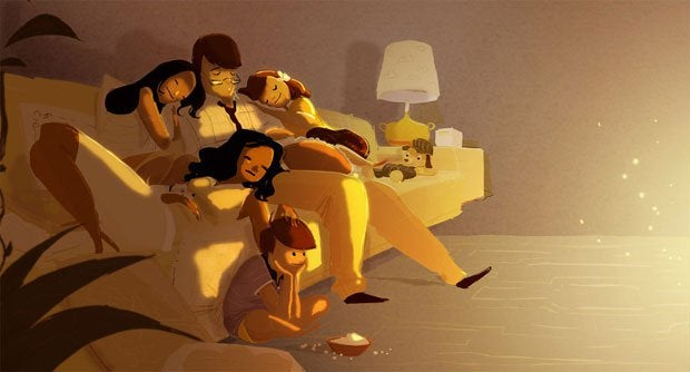 Whole Family Sleeping Together on Sofa