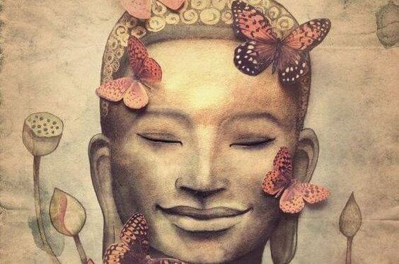 buddha with butterflies