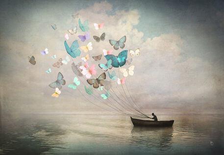 butterflies pulling a canoe