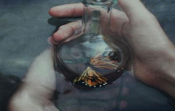 butterfly in a glass bottle-2