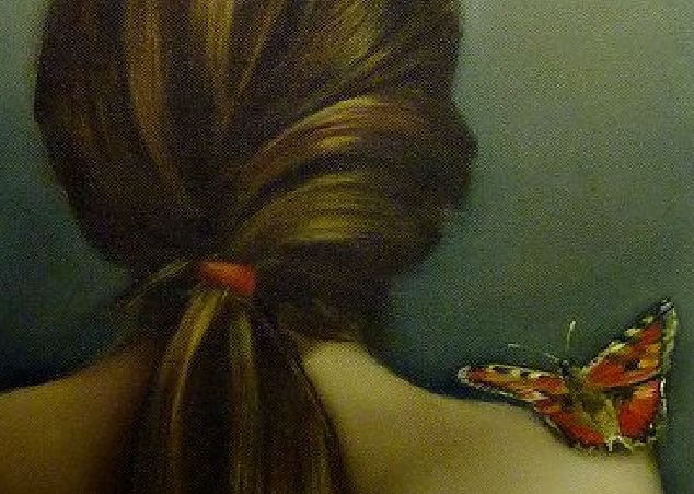 butterfly on a bare shoulder