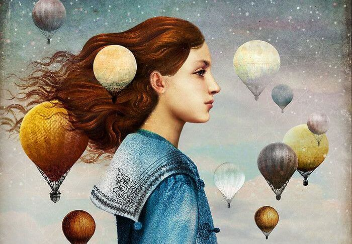 Girl Surrounded by Hot Air Balloons