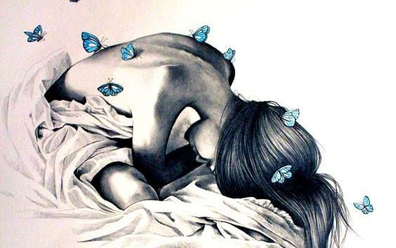 girl in bed with butterflies