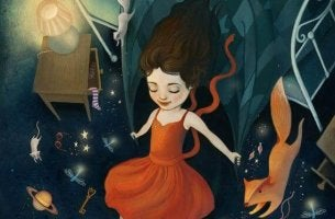 girl in space with animals