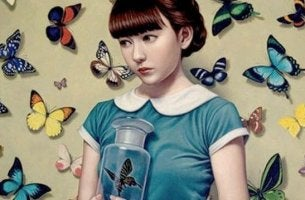 girl surrounded by butterflies