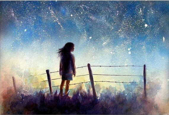 girl and night sky healthily