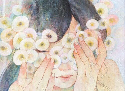 flowers and hands on face hypersensitive