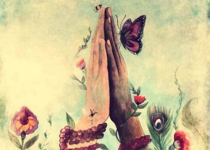 hands joined with butterflies