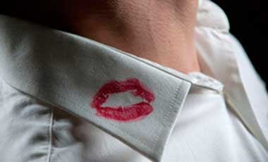 lipstick kiss on shirt collar