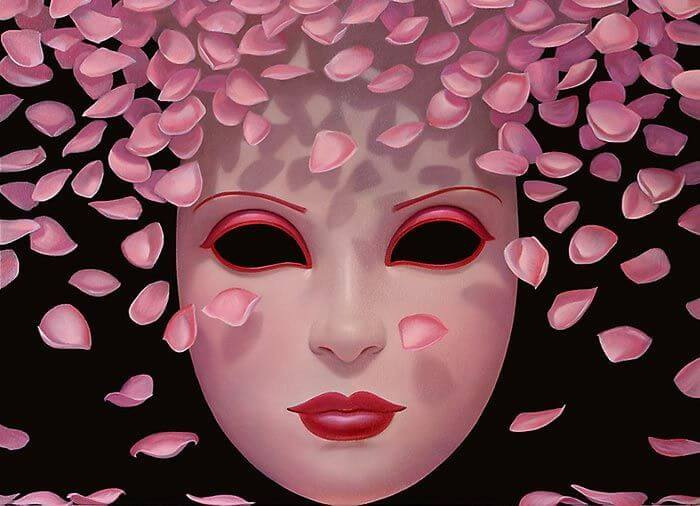 Mask and Cherry Blossom Petals