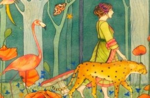 Woman Surrounded by Animals
