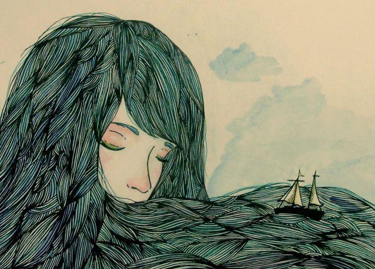 Naisen hiukset ovat meri