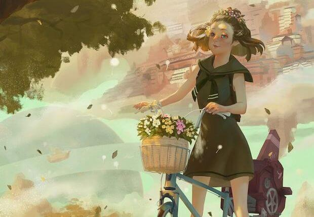 Girl on Bike with Basket of Flowers