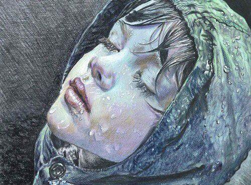 Child's Face in Rain