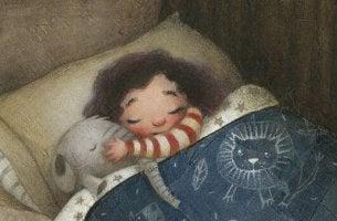 Girl Sleeping with Stuffed Elephant