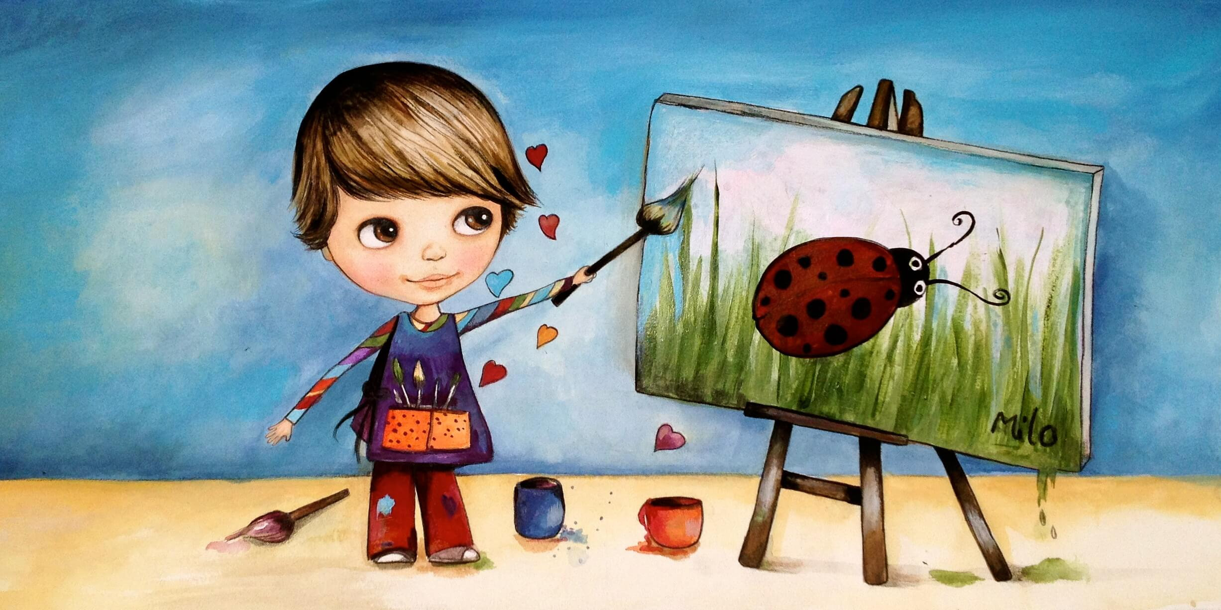 Child Painting Ladybug
