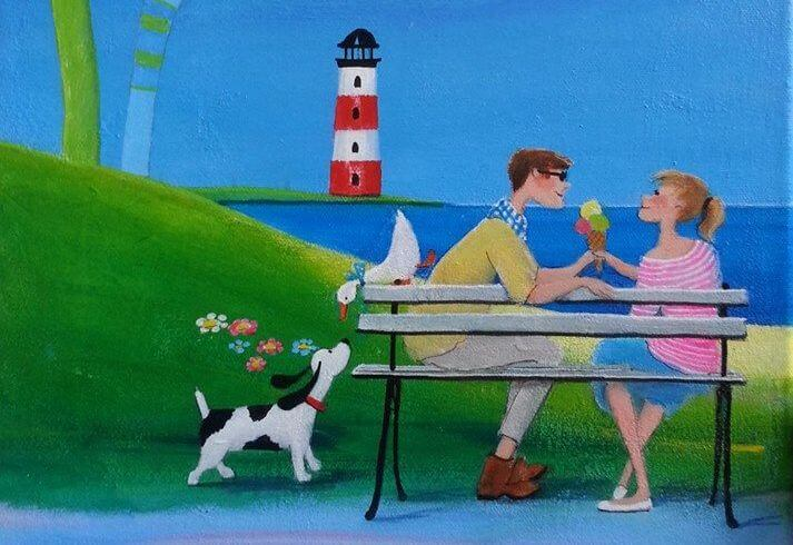 Couple with Ice Cream, Dog and Duck