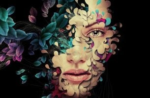 Woman's Face made of Flowers
