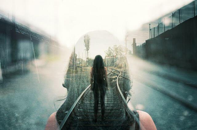 Woman Along Train Tracks