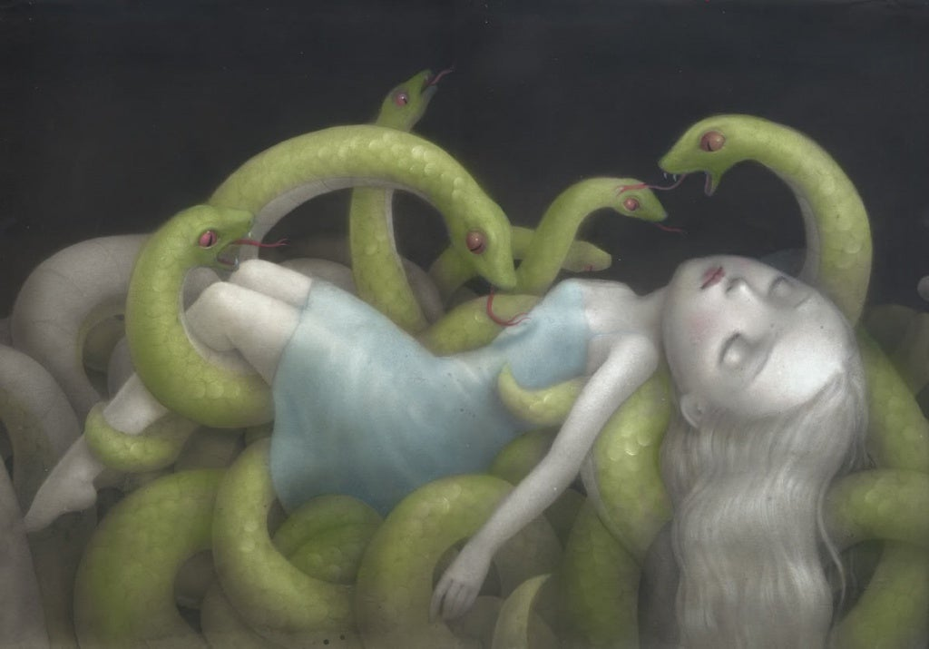 Girl Surrounded by Snakes