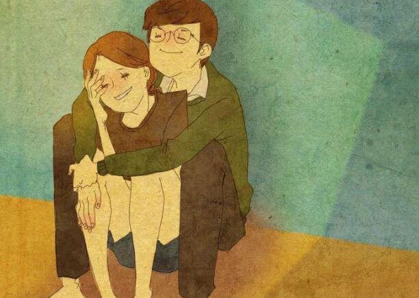 sitting couple hugging