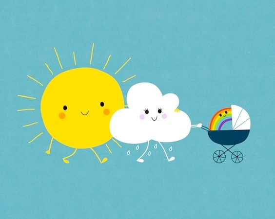 sun with clouds representing family