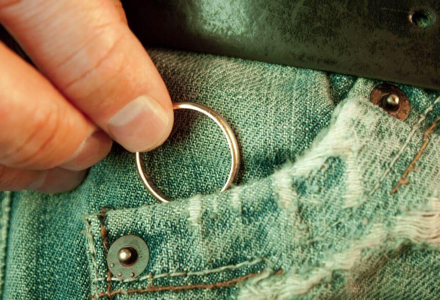 wedding ring in pocket
