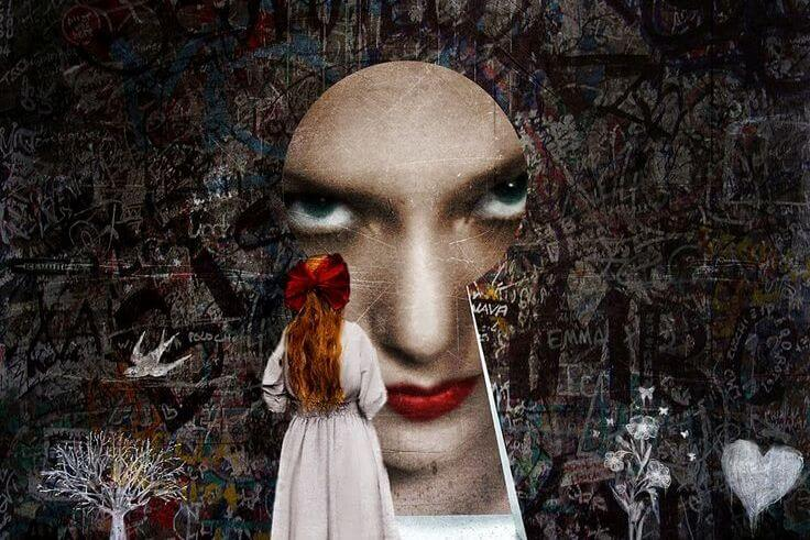 woman face keyhole