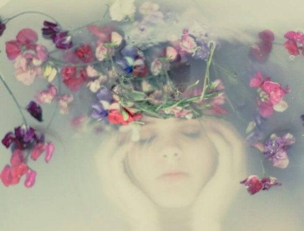 woman under flowers