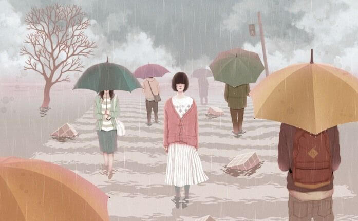 young woman on a cross walk in the rain