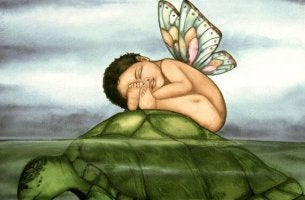 butterfly baby on a turtle