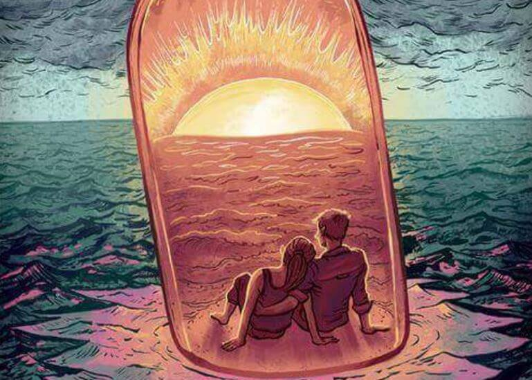 couple in a bottle in the sea