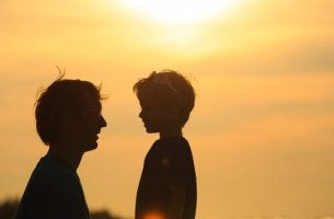 father and son sunset