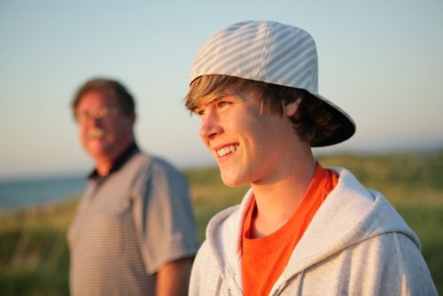 father with his son in the fields