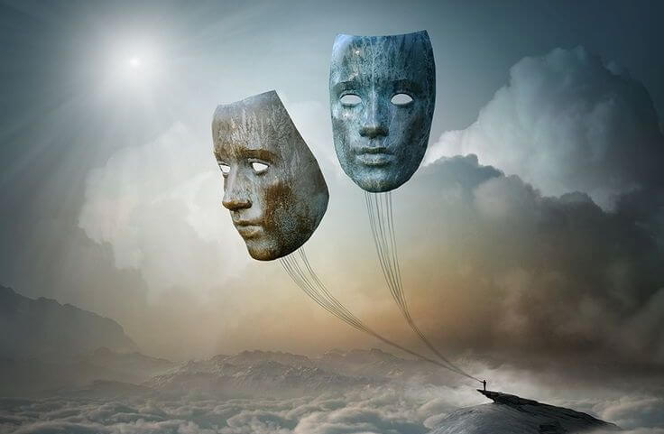 giant masks floating like balloons