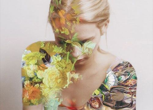 girl covered with flowers