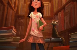 girl in library with book and cat