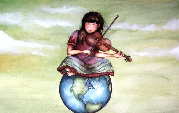 girl playing violin on world