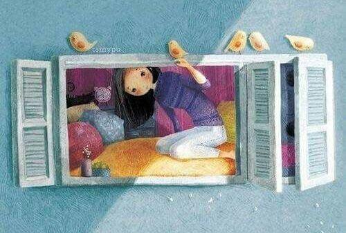 girl through a window