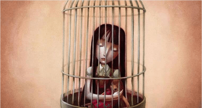 girl with doll in cage