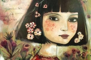 girl with flowers on her face