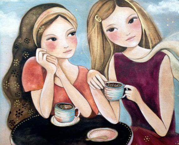 girls drinking hot chocolate