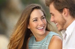 happy girl looking at boyfriend