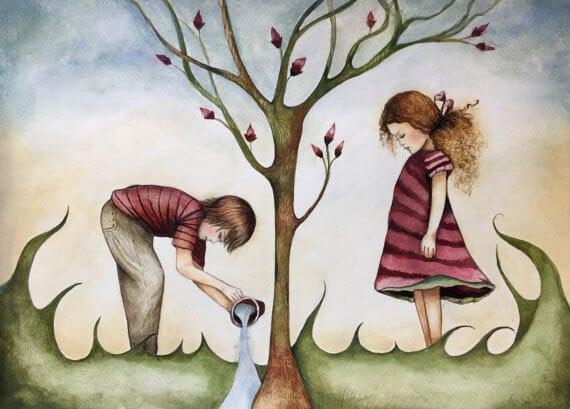 children watering tree