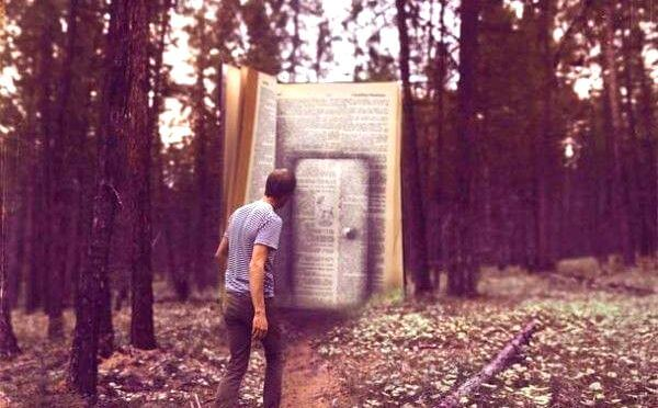 man in front of a door of a giant book