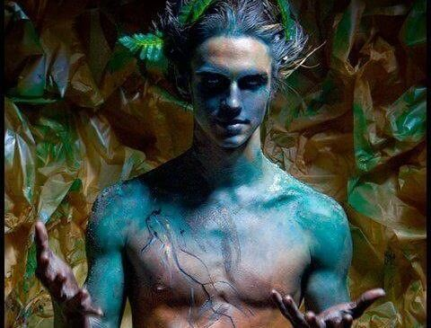 man with blue skin