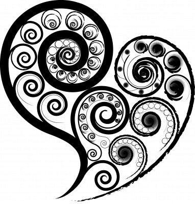 swirly black heart